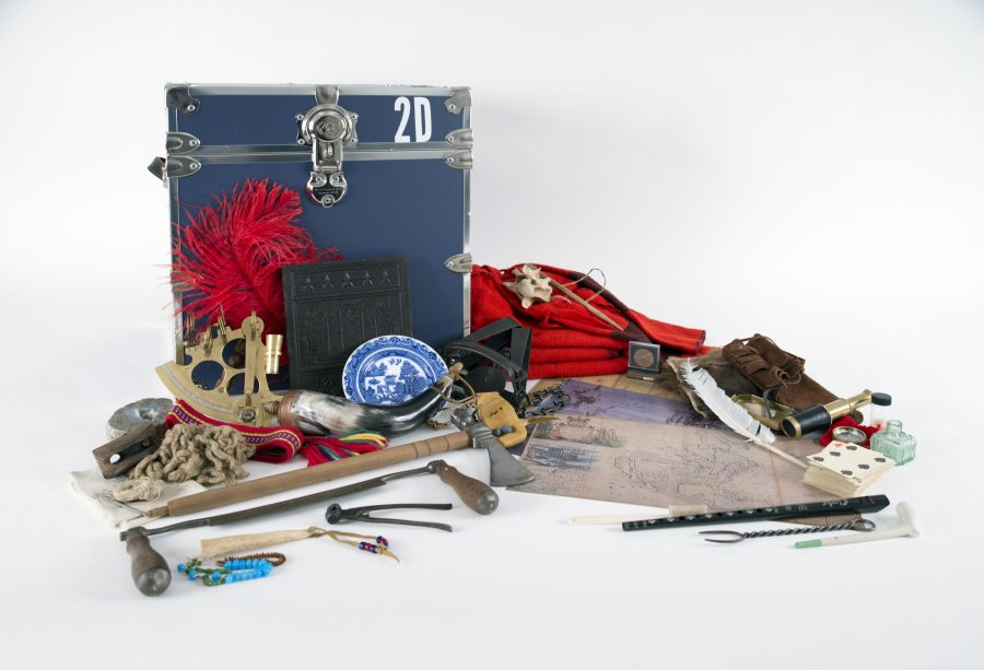 The contents of the Exploration and Trade Portable Museum Trunk
