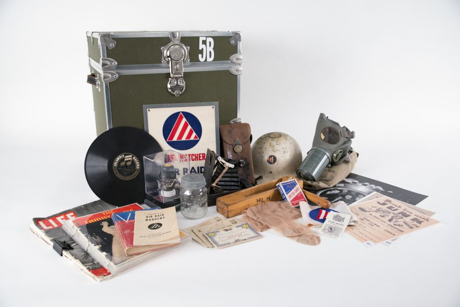 The WWII Homefront Experience Portable Museum Trunk contents
